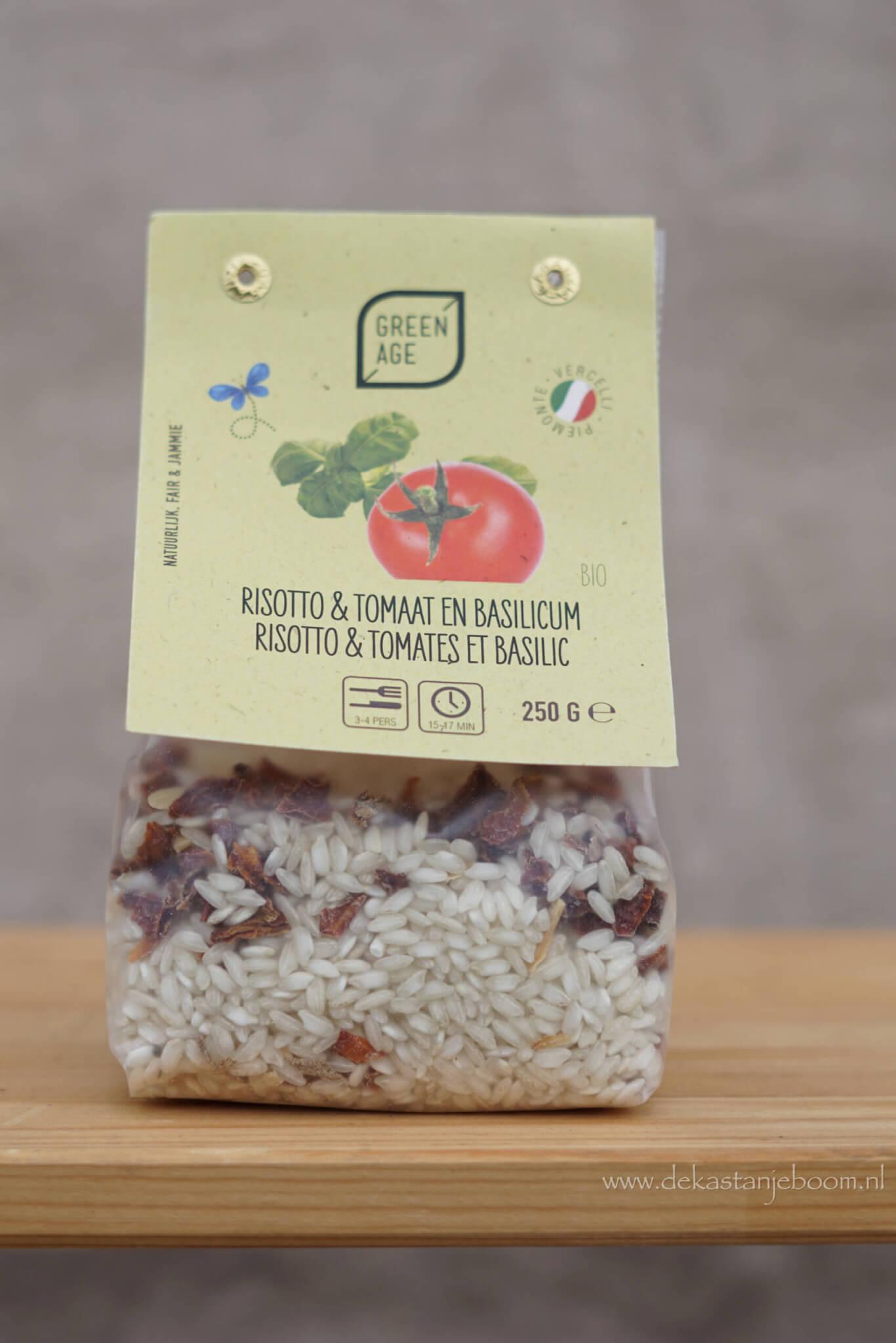 risotto, tomaat basilicum